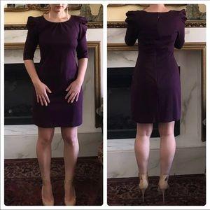 Jessica Simpson puff shoulder deep purple dress 4